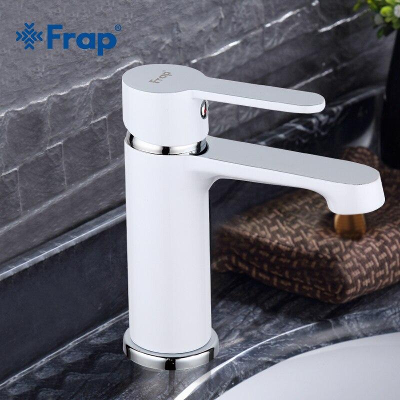FRAP Branco Torneira Do Banheiro de Bronze Misturador Pia Bacia Torneira de Água Fria e Quente Única Alça TORNEIRA F1041