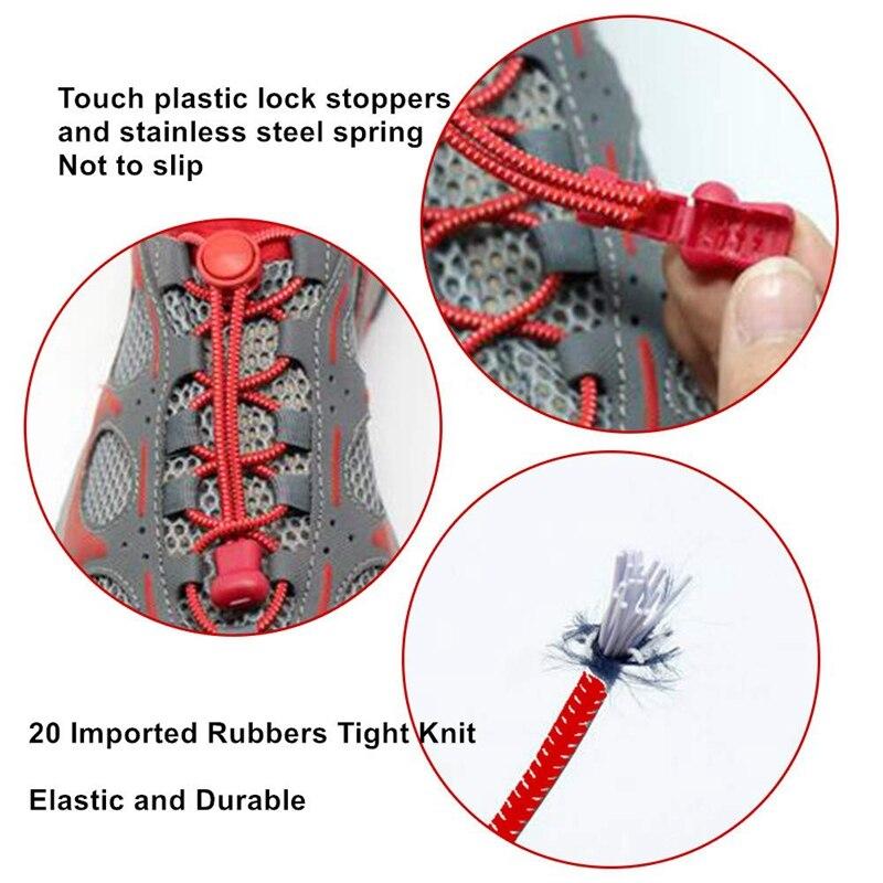 1Pair 23 colors Sneaker ShoeLaces Elastic No Tie Shoe Laces Stretching Lock Lazy laces Quick Rubber Shoelace Shoestrings 3