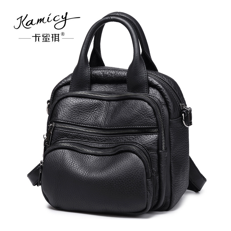 Kamicy Lady's bag New European and American female bag leather hand bag multi-pocket fashion simple travel backpack travel tale fashion cat and dog capsule pet cartoon bag hand held portable package backpack