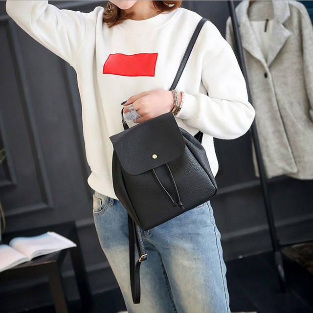 f7e01f35a1 Free shipping Sweet College Wind Mini Shoulder Bag High quality PU leather  Fashion girl black small backpack female bag 2018