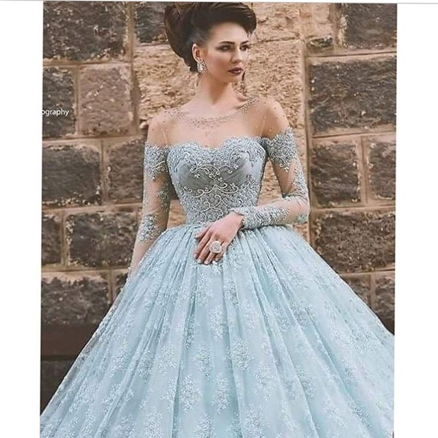 Black Girl Prom Dresses Light Blue Lace Appliqued Beaded Pearls ...