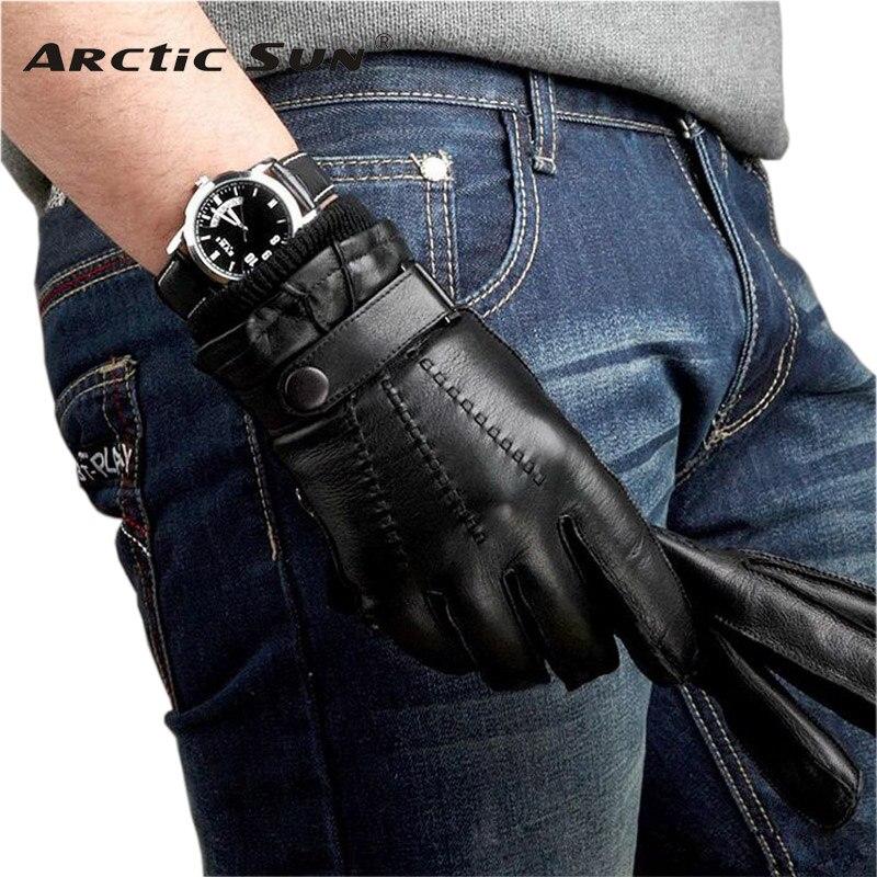 M016WZ wrist men leather gloves knitting lining male mitten genuine sheepskin driving