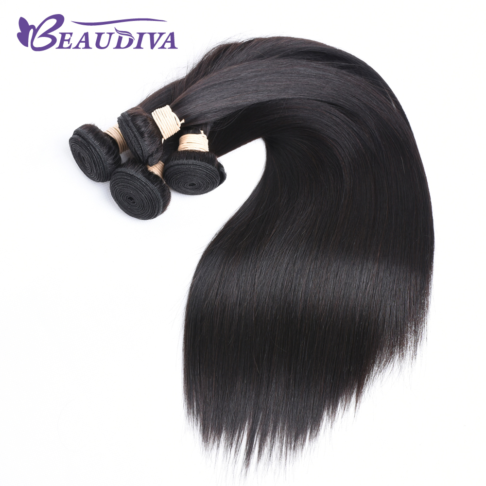 BEAU DIVA Remy Hair Peruvian Straight Hair 1# Color 100 % Human Hair Weave Three Bundles only 8 inch -26 inch Free Shipping