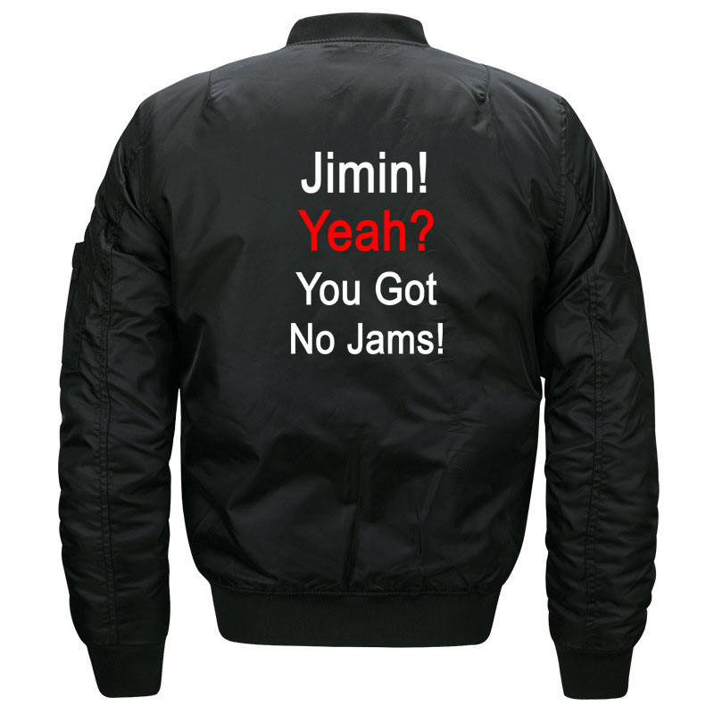 Funny Kpop BTS Jimin You Got No Jams Bomber Jacket for Women and Men Fans Kawaii Girls Bangtan Boys Quilted Jackets Plus Size 2