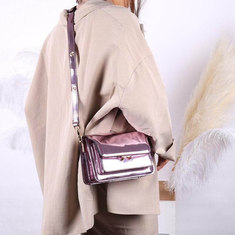 2019 แบรนด์แฟชั่นสตรีกระเป๋าหนังแท้ Leaather หญิงกระเป๋าผู้หญิงสีม่วงไหล่กระเป๋า Lady กระเป๋าถือ 418-ใน กระเป๋าสะพายไหล่ จาก สัมภาระและกระเป๋า บน   2