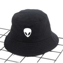 e6b14d5a60261 Estrangeiro dos desenhos animados Bordado Cap Chapéu de Pesca Balde Chapéu  Hip Hop de Algodão Casuais. 2 Cores Disponíveis
