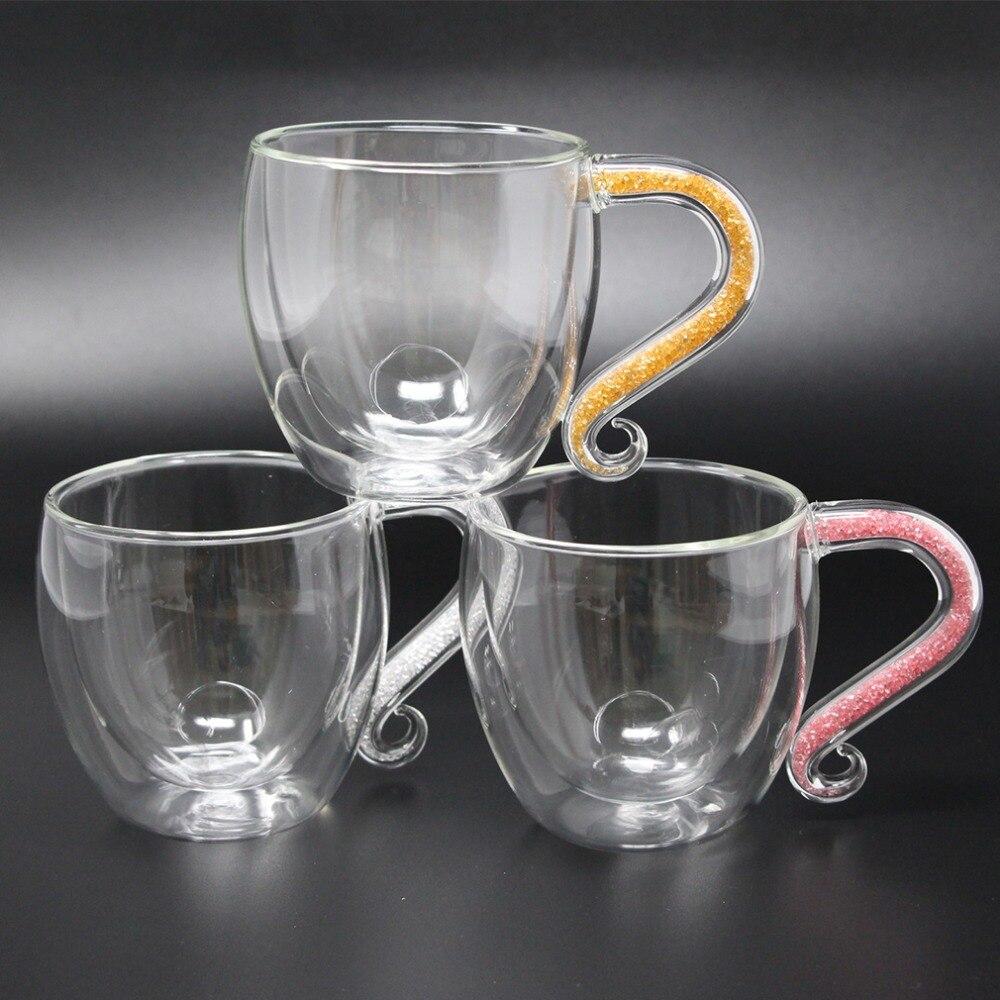 Personnalisé Personnalisé Tasses À Café En Verre À Double Paroi Tasse avec Cristal et Acrylique Strass Rempli À La Main grip Cadeau de Mère F3