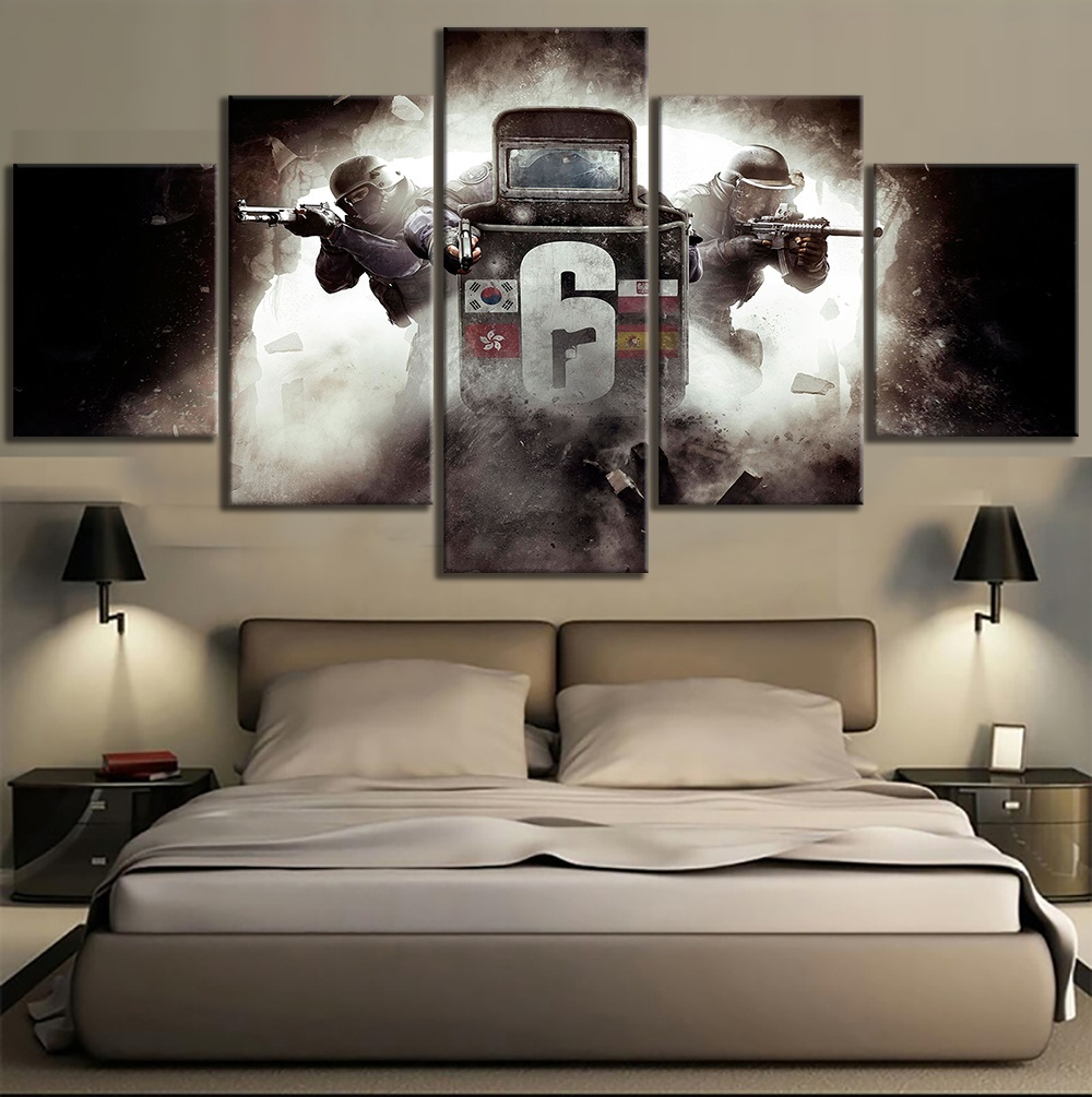 5 Piece HD Picture Rainbow Six Siege Tom Clancys Shooting Canvas Art Wall Painting for Living Room Decor Video Game Poster