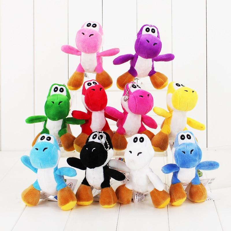 10Styles 12cm Super Mario Yoshi Plush Toy Stuffed Soft Pendant Dolls With Keychain Keyring Great Gift funny emoji cartoon face plush toys keychain pendant cute soft stuffed qq mini dolls round smile keyring gift