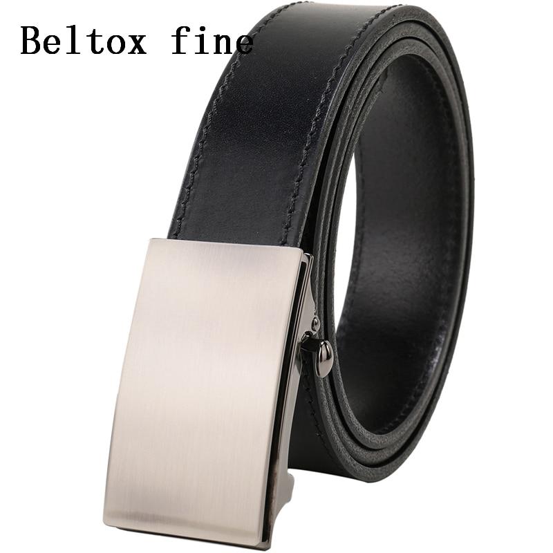 Image 2 - Men's Top Grain Bridle Leather Dress Belts No Ratchet Automatic Buckle 1 3/8 Designer Belt Cassic belts for men ceinture-in Men's Belts from Apparel Accessories