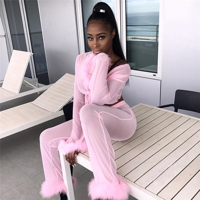 Adogirl Solid Pink Feather Chiffon 4 Piece Set Long Sleeve Cardigan + Bra Top + Thong + Flare Pants Women Sexy Club Outfits Suit 4
