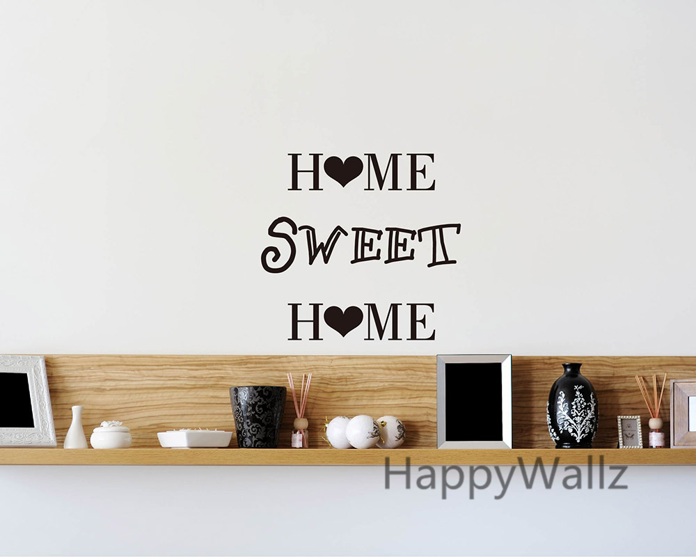 Home Sweet Home Family Quote Wall Sticker Decorating DIY Family Home Sweet  Home Lettering Quote Wallpaper Custom Colors Q32 In Wall Stickers From Home  ...