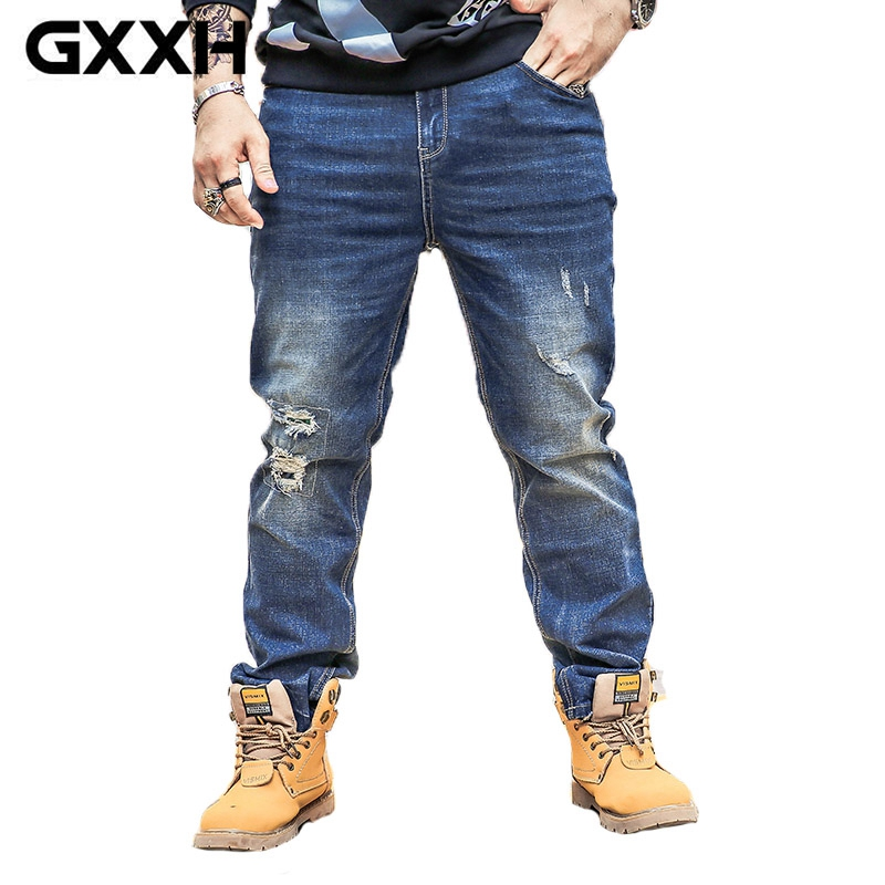 Spring new jeans men 100 Cotton letter printing fit slim Pencil pants ripped high quality Classic