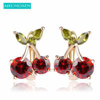 MECHOSEN Kawaii Rote Kirsche Stud Ohrringe Für Frauen Mädchen Gold-farbe Kupfer Brinco Prong Einstellung Zirkonia Ohrringe Partei Schmuck