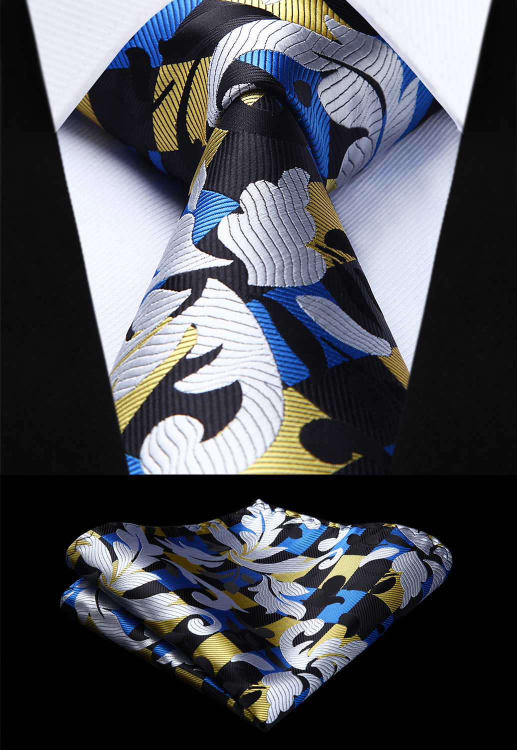 Woven Men White Yellow Tie Floral Necktie Handkerchief Set#TG806W8S Party Wedding Classic Fashion Pocket Square Tie