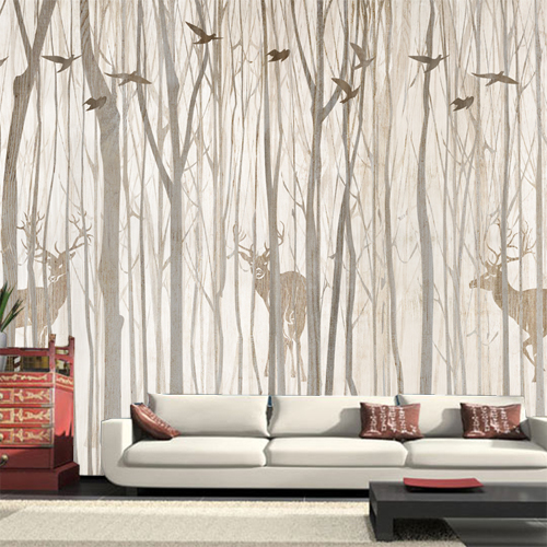 Europe Bird Tree Mural Wallpaper 3D Waterproof Living Room TV Background  Wall Rustic Wallcovering Black White