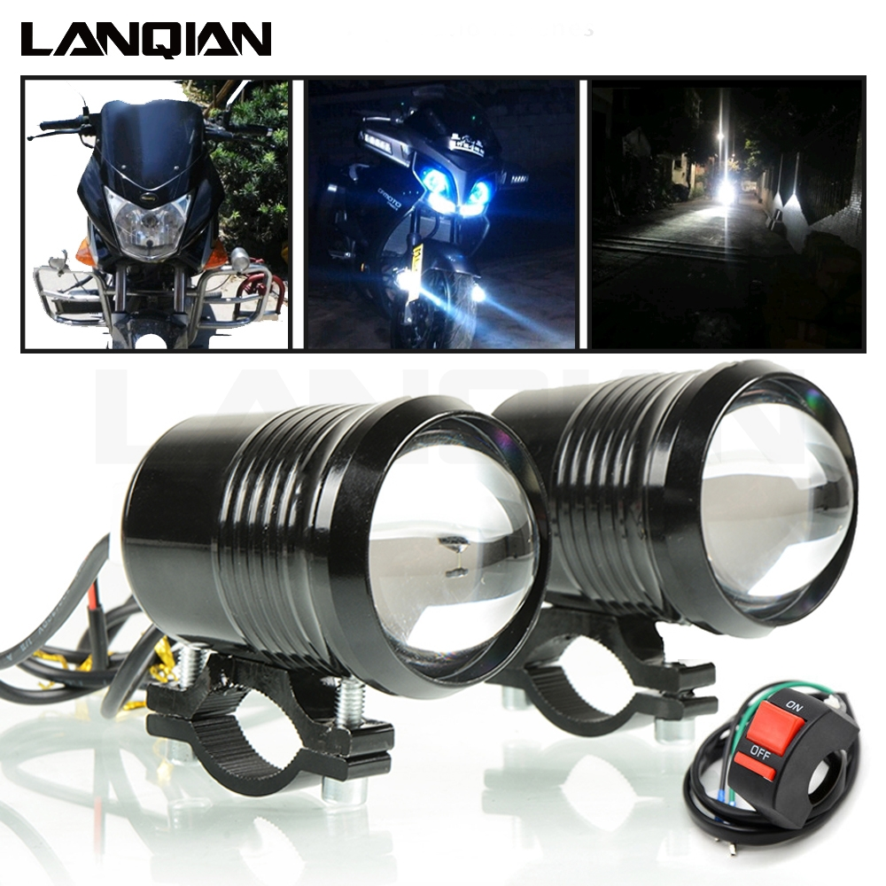 Motorcycle Headlight Led Light Auxiliary Lamp U2 Led Motorbike Spotlights Accessory Moto DRL Fog Spot Head Light 30W 12V 1200LM