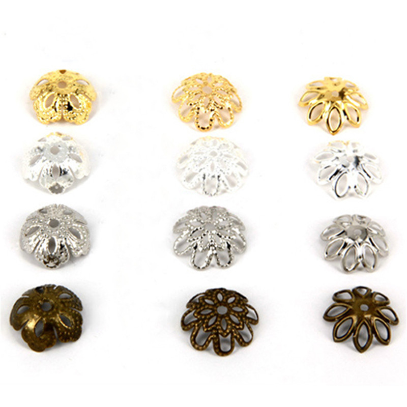 Bead Cap 14*5mm 50 pcs/bag Hollow Flower Gold Silver Bronze Nickel Plated Bead Caps For Jewelry MarkingBead Cap 14*5mm 50 pcs/bag Hollow Flower Gold Silver Bronze Nickel Plated Bead Caps For Jewelry Marking
