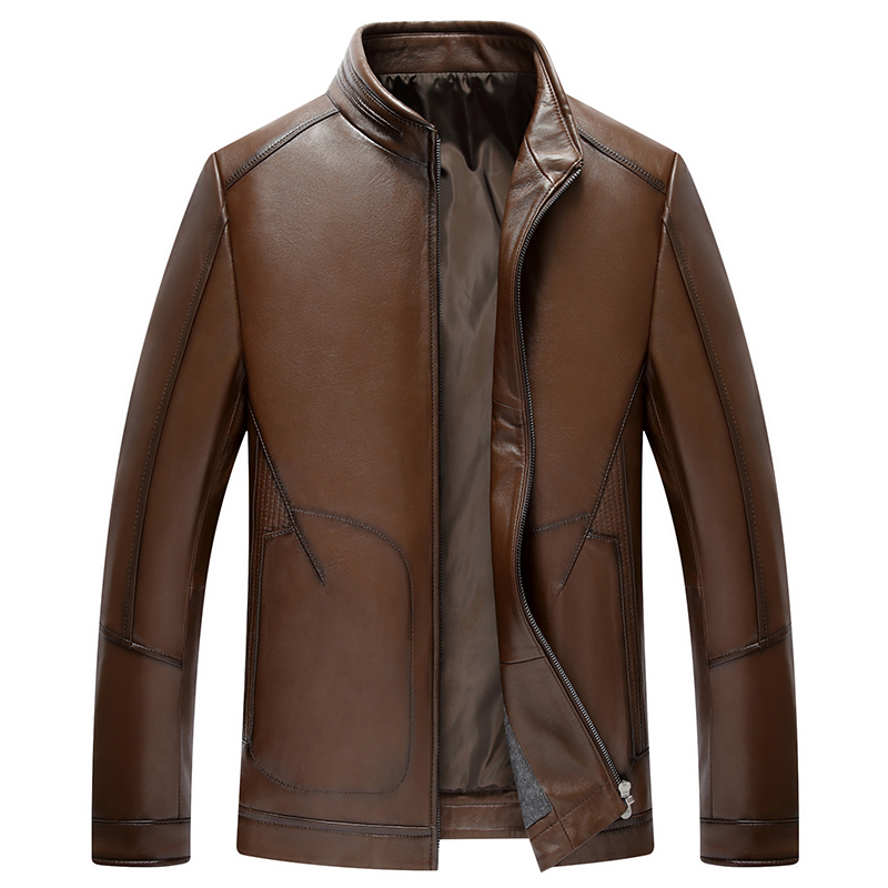 Sheep Skin Motorcycle Leather Jacket Men 2017 Bomber Male Jacket Coat Casual Jaqueta De Couro Masculina Casaco Masculino