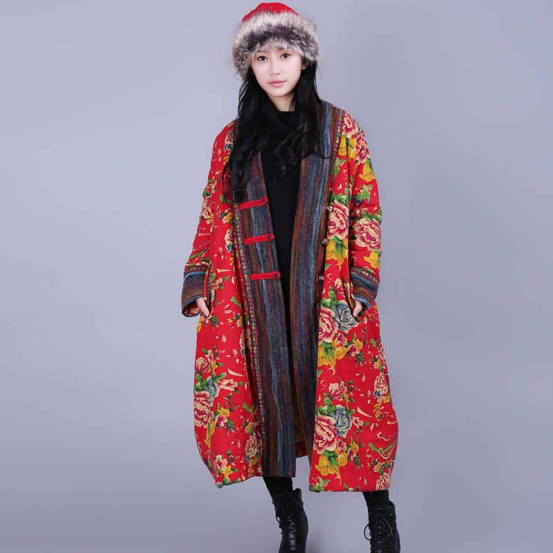 LYNETTE'S CHINOISERIE Winter Women Plus Size Ultra Loose National Trend Floral Print Patchwork Cotton-padded Jacket Overcoat [aigyptos lz]winter novelty personality vintage exotic fluid ultra long national trend plus velvet wadded jacket cotton padded