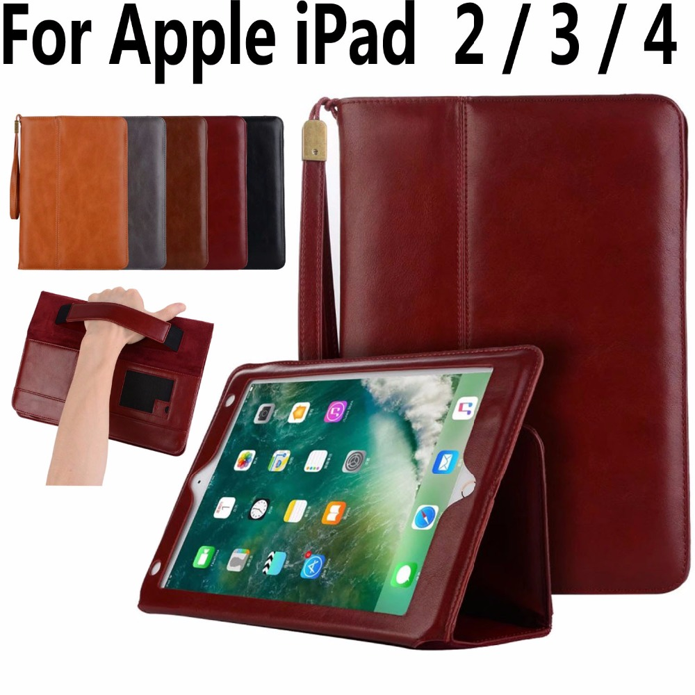High Quality Leather Case for Apple iPad 2 3 4 9.7 inch Handheld Magnet Smart Case Cover for iPad 2 3 4 9.7 with Card Pocket apple ipad ipad 2 3 4 air2 min2i