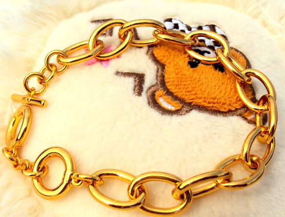11mm Greatcircle 24k Gold GF Nugget Iron Chain Real hand Bracelet NEW Tide Unconditional Lifetime Replacement Guarantee