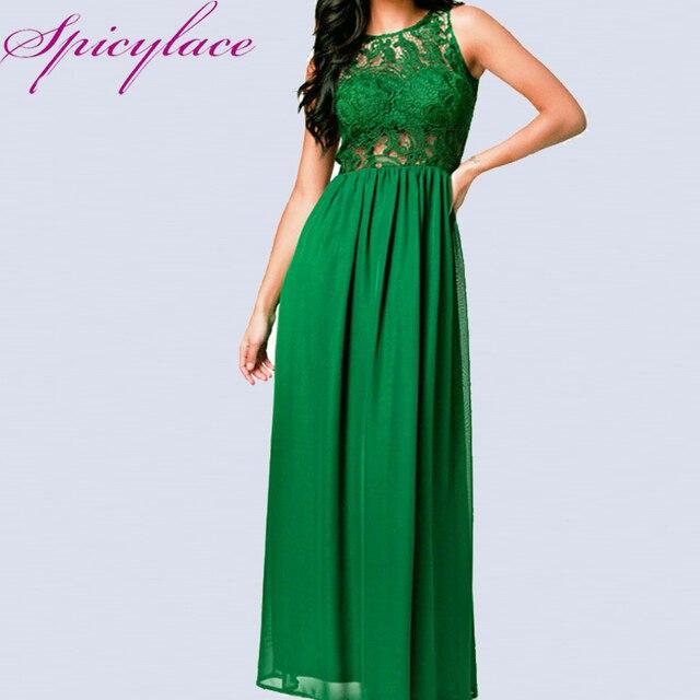 27e151a39 Spicylace Mulheres Elegante Sem Mangas de Renda Vestido Longo Sem Encosto  Verde Retalhos do Assoalho-