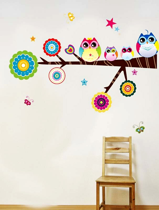 brand design cute owl wall sticker high quality home decor kid's gift  colorful cartoon tree children room wall decoration ZY1010-in Wall Stickers  from Home ...