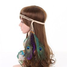 Beaded Peacock Feather Headwear