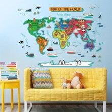Wereldkaart Muurstickers Voor Kinderkamer Woondecoratie DIY Verwijderbare Muurtattoo Kleuterschool studeerkamer QTB578-4