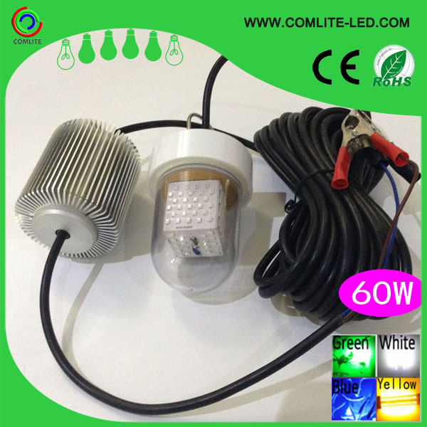 60W 12V-24V LED Grön Undervattens Dunkel Natt Fiske Light Crappie Squid Dock Lamp