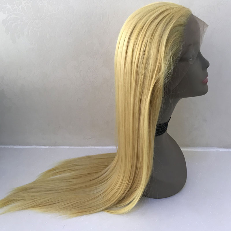 Bombshell Mix Yellow Blonde Straight Synthetic Hand Tied Lace Front Wig Glueless Heat Resistant Fiber Hair
