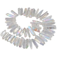 SUNYIK White AB Titanium Coated Quartz Crystal Points Drilled Sticks Spikes 16 Inch Strand