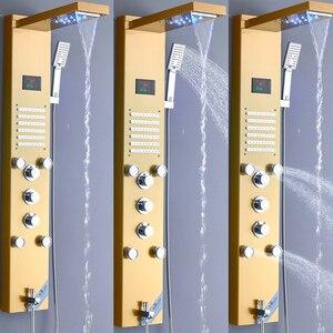 Image 5 - Senlesen מקלחת פנל מפל הגשמים ראש פלדה לשלושה ידיות חמה וקר מיקסר מים ברזי Para אמבטיה מקלחת