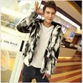 XS-3XL Winter new nightclub tide men faux fur coat short paragraph fashion casual jacket nightclub singer costumes clothing