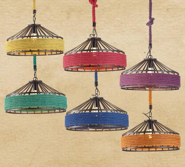 Retro industry creative cafe bar iron pendant lights vintage clothing store linen pendant lamp personality balcony ZH retro industry country vintage linen glass ball pendant lights creative personality restaurant bar cafe linen pendant lamp zzp