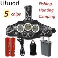 Z30Led XM-L T6 LED Reflektor 10000 Lumenów latarka Czołówka Latarka Lanterna 4 Modelu Przełącznika 5 Chipy do polowania kemping ect