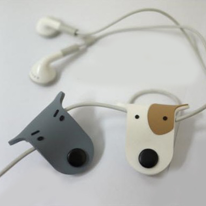 5pcs/set Small Dogs Snap Button HUB headphone wire Winder MP3 Headphone cable organizer s4