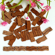 50PCs Wooden Buttons Handmade Letter Sewing 2 Holes Scrapbooking for Crafts DIY 13*30mm