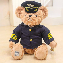 2016 hot sale korean ariplane captain stewardess bear plush stuffed toys doll kids boy girlfriend birthday gift free shipping