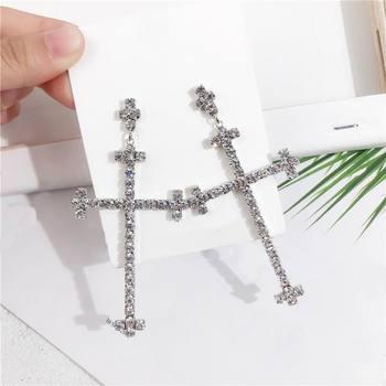 fc4555da807a Diamantes de imitación Cruz pendientes grandes para las mujeres nueva moda  joyería declaración pendientes de gota Bijoux