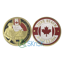 Nice Canadian souvenir for collection Canada infantry division WW2 D-Day Juno Beach gold plated coin Canada commemorative coins(China)