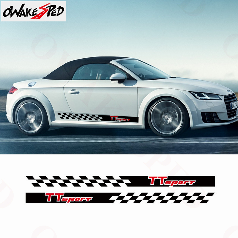 Sticker Decal Vinyl Side Door Stripes for Audi TT RS TT Racing Wing Bumper Skirt