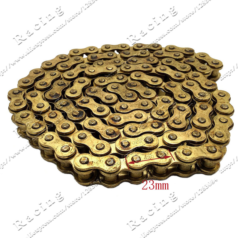 Gold 420 Chain 104 Links Rings For 110cc 125cc Engine Pit Dirt Motor Trail Bike ATV Quad Off-Road