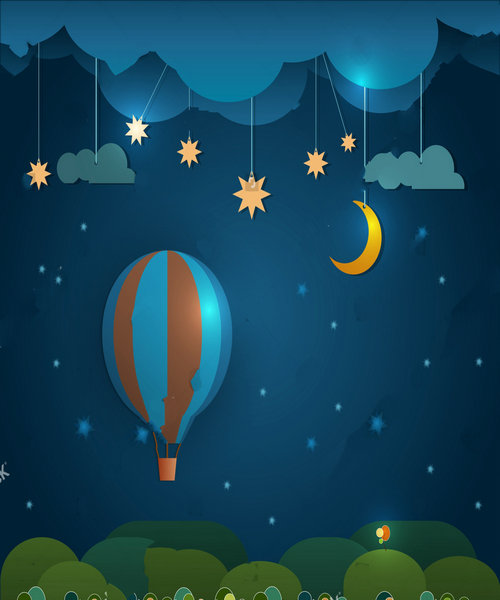 hot air balloon star night sky clouds moon Background polyester or Vinyl cloth High quality Computer print wall backdrops