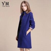 YuooMuoo 2016 New Women Coat Slim Blue Wool Coat High Quality Fashion Female Overcoat Brand Women's Coats and Jackets casaco