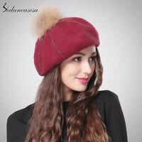2015 Winter Casual Cute Red Khaki Pom Pom Wool Beret Women Cap Wholesale High Quality Hats