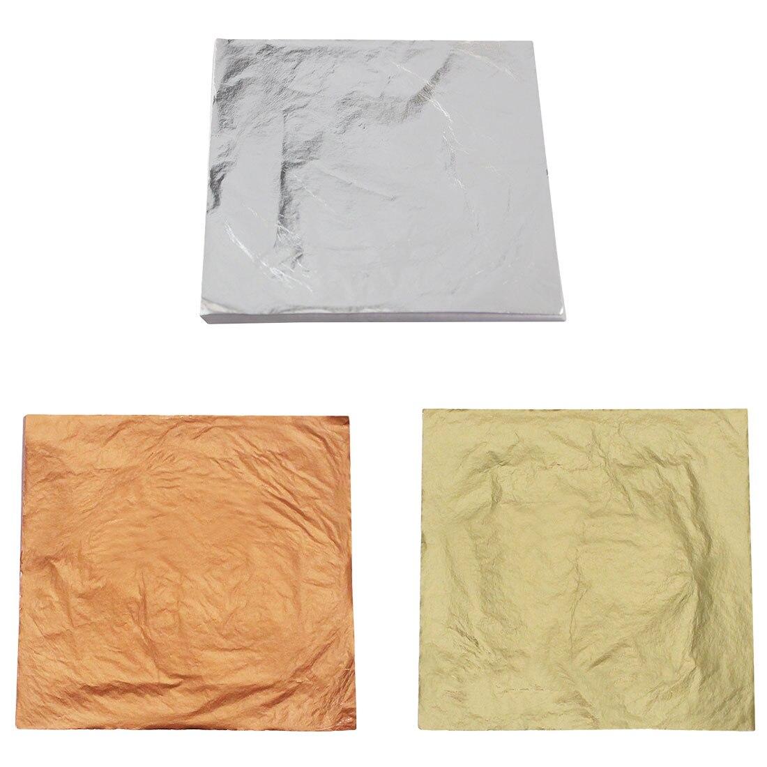 100 Pcs 14x14cm Gold//Silver//Copper Leaf Sheets Leaves Sheets Gilding Art Craft