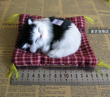 cute simulation white&black cat toy polyethylene & furs small sounds cat model about 16x14cm