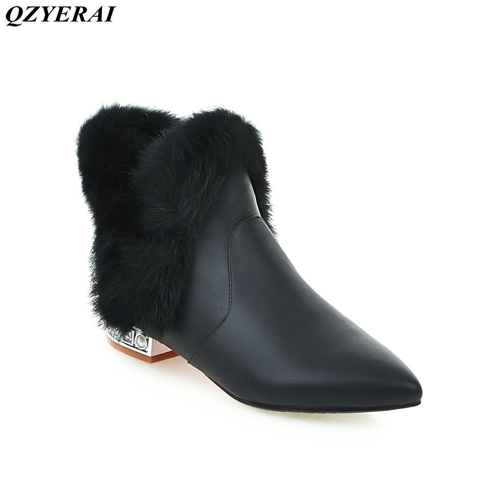 QZYERAI New 2018 winter warm leather and rabbit fur boots fashion pointed low heel crystal boots European classic big size 34-43 black and white senior rabbit fur hat